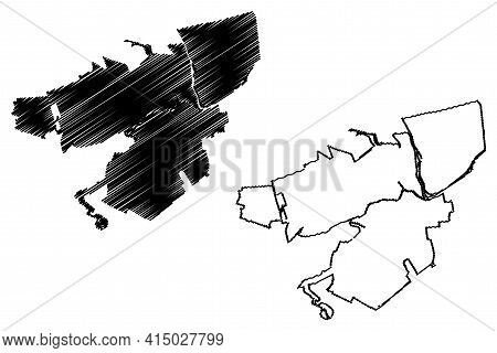 Allentown City, Pennsylvania (united States Cities, United States Of America, Usa City) Map Vector I