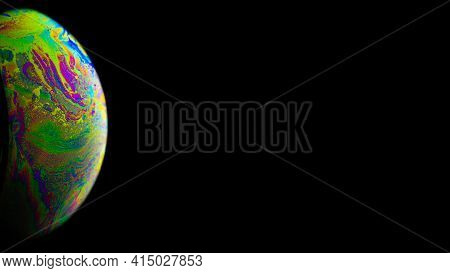 Vibrant Universe. Abstract Galaxy Background With Globe Planet Earth In Universe Space With Sunlight