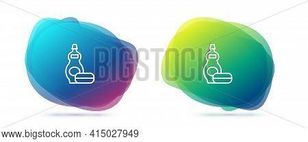 Set Line Dishwashing Liquid Bottle Icon Isolated On White Background. Liquid Detergent For Washing D