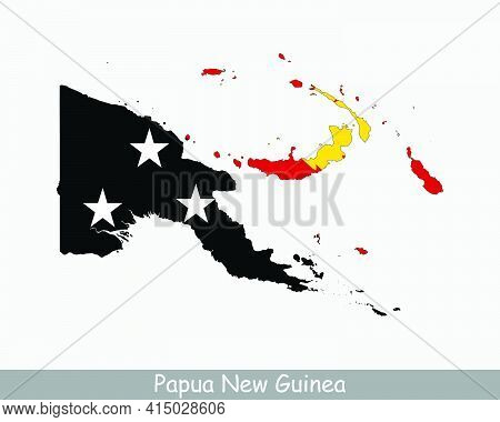 Papua New Guinea Flag Map. Map Of The Independent State Of Papua New Guinea With The Papua New Guine