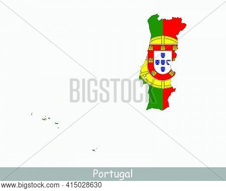 Portugal Flag Map. Map Of The Portuguese Republic With The Portuguese National Flag Isolated On A Wh