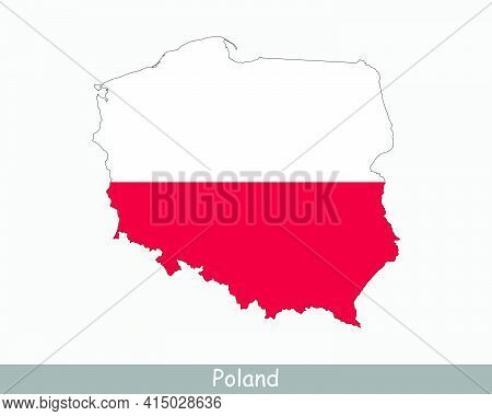 Poland Flag Map. Map Of The Republic Of Poland With The Polish National Flag Isolated On A White Bac