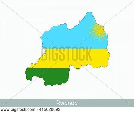 Rwanda Flag Map. Map Of The Republic Of Rwanda With The Rwandan National Flag Isolated On A White Ba
