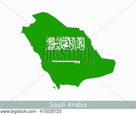 Saudi Arabia Flag Map. Map Of The Kingdom Of Saudi Arabia With The Saudi National Flag Isolated On A