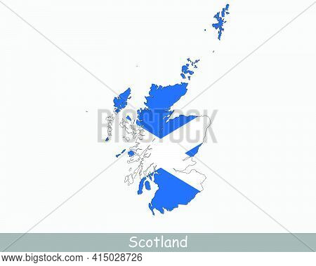 Scotland Flag Map. Map Of Scotland With The Scottish National Flag Isolated On A White Background. U