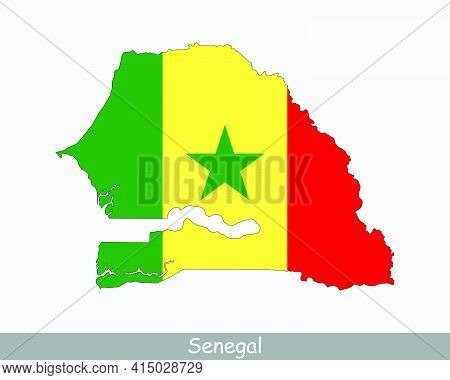 Senegal Flag Map. Map Of The Republic Of Senegal With The Senegalese National Flag Isolated On A Whi