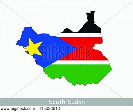 South Sudan Flag Map. Map Of The Republic Of South Sudan With The South Sudanese National Flag Isola