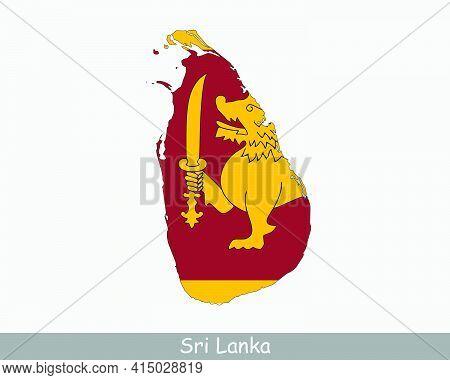 Sri Lanka Flag Map. Map Of The Democratic Socialist Republic Of Sri Lanka With The Sri Lankan Nation