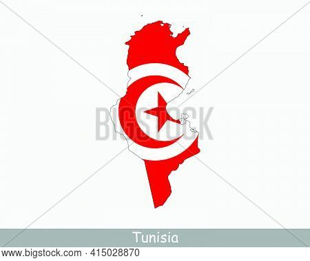 Tunisia Flag Map. Map Of The Republic Of Tunisia With The Tunisian National Flag Isolated On A White
