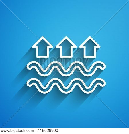 White Line Waves Of Water And Evaporation Icon Isolated On Blue Background. Long Shadow. Vector