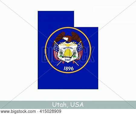 Utah Map Flag. Map Of Ut, Usa With The State Flag Isolated On A White Background. United States, Ame
