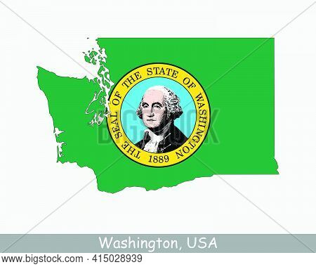 Washington State Map Flag. Map Of Wa, Usa With The State Flag Isolated On A White Background. United