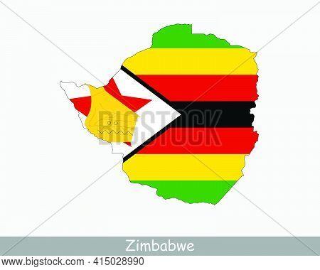Zimbabwe Flag Map. Map Of The Republic Of Zimbabwe With The Zimbabwean National Flag Isolated On A W