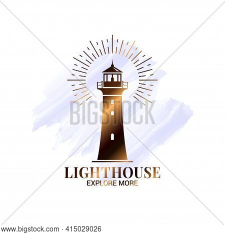 Lighthouse Watercolor Logo On White Icon Design