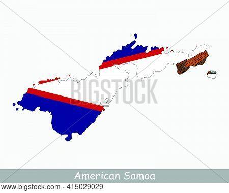 American Samoa Map Flag. Map Of American Samoa, Usa With The Flag Of American Samoa Isolated On Whit
