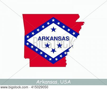 Arkansas Map Flag. Map Of Arkansas, Usa With The State Flag Of Arkansas Isolated On White Background