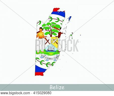 Belize Map Flag. Map Of Belize With The Belizean National Flag Isolated On White Background. Vector