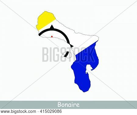 Bonaire Map Flag. Map Of Bonaire With Flag Isolated On White Background. Special Municipality Of The