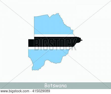 Botswana Map Flag. Map Of Botswana With The Batswana National Flag Isolated On White Background. Vec