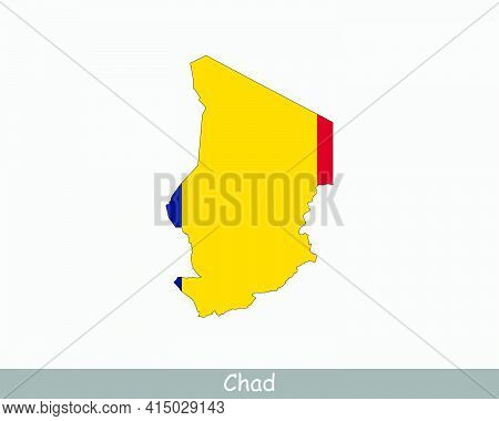 Chad Map Flag. Map Of Chad With The Chadian National Flag Isolated On White Background. Vector Illus