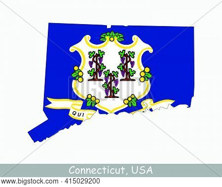Connecticut Map Flag. Map Of Ct, Usa With The State Flag Isolated On White Background. United States