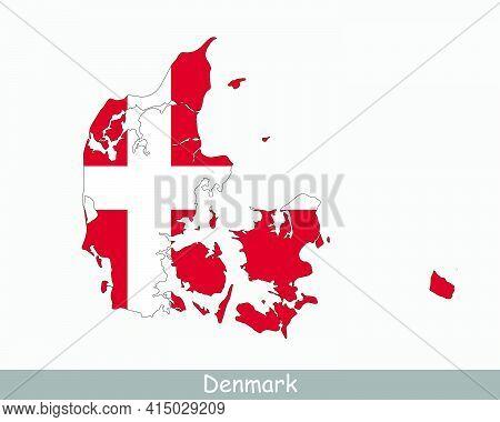 Denmark Map Flag. Danish Map With The Dane National Flag Isolated On White Background. Vector Illust