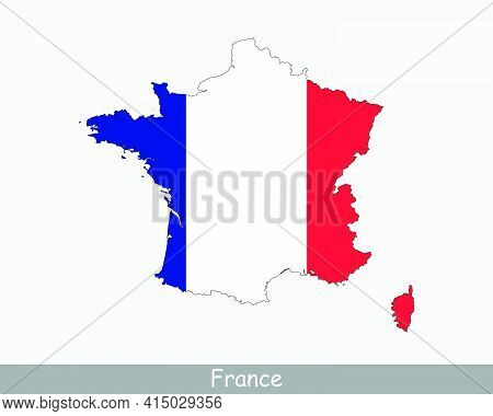 France Map Flag. Map Of France With The French National Flag Isolated On White Background. Vector Il