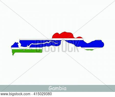 The Gambia Map Flag. Map Of Republic Of The Gambia With The Gambian National Flag Isolated On White
