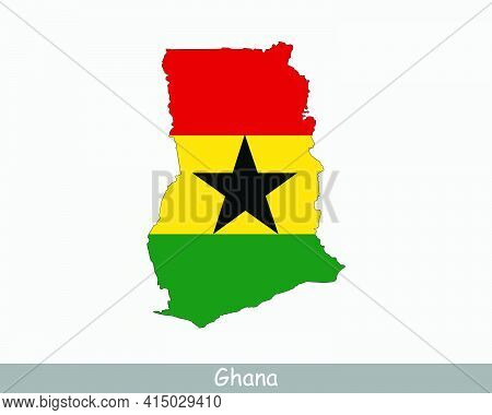 Ghana Map Flag. Map Of The Republic Of Ghana With The Ghanaian National Flag Isolated On White Backg
