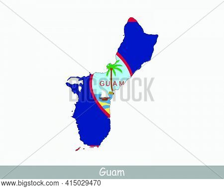 Guam Map Flag. Map Of Guam With The Guamanian Flag Isolated On White Background. Unincorporated And