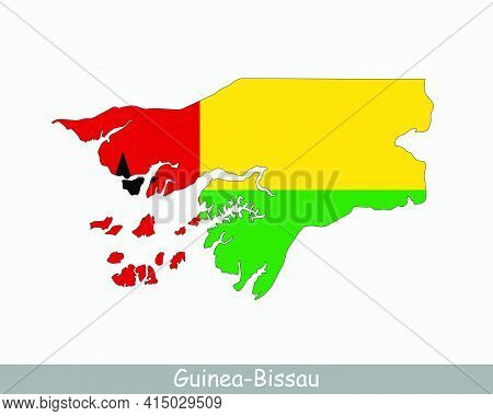 Guinea-bissau Map Flag. Map Of The Republic Of Guinea-bissau With The Bissau-guinean National Flag I
