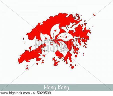 Hong Kong Map Flag. Map Of Hong Kong With The Hong Kongese National Flag Isolated On White Backgroun