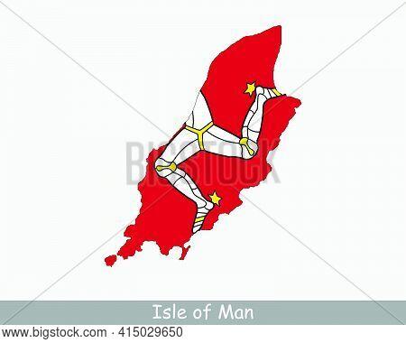 Isle Of Man Map Flag. Map Of Isle Of Man With Flag Isolated On White Background. Crown Dependency. V