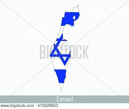 Israel Map Flag. Map Of The State Of Israel With The Israeli National Flag Isolated On White Backgro