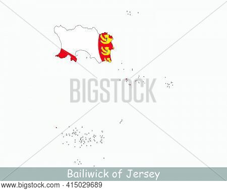 Jersey Map Flag. Map Of The Bailiwick Of Jersey With Flag Isolated On White Background. Crown Depend