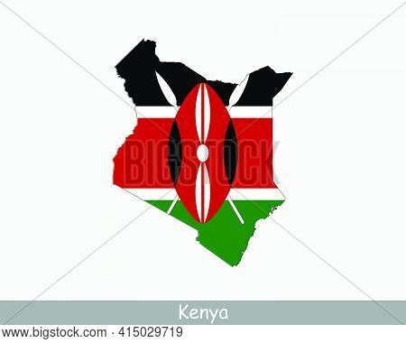 Kenya Map Flag. Map Of The Republic Of Kenya With The Kenyan National Flag Isolated On White Backgro