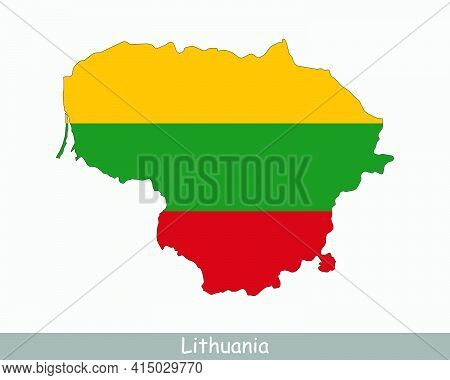 Lithuania Map Flag. Map Of The Republic Of Lithuania With The Lithuanian National Flag Isolated On W