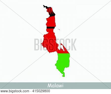 Malawi Map Flag. Map Of The Republic Of Malawi With The Malawian National Flag Isolated On White Bac