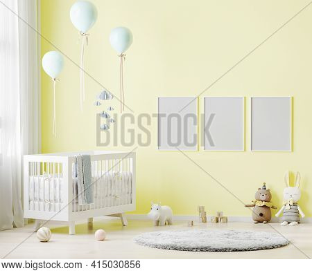 Blank Poster Frames Mock Up On Yellow Wall In Nursery Room Interior Background With Baby Bedding, So
