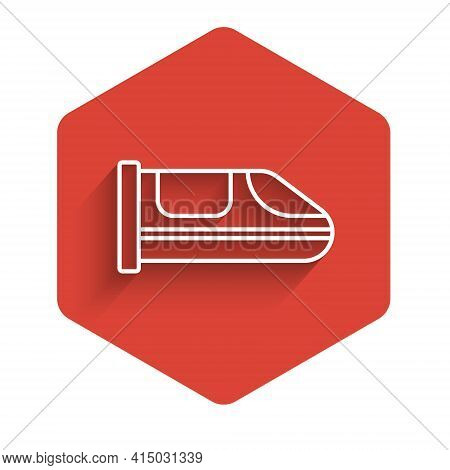 White Line High-speed Train Icon Isolated With Long Shadow. Railroad Travel And Railway Tourism. Sub