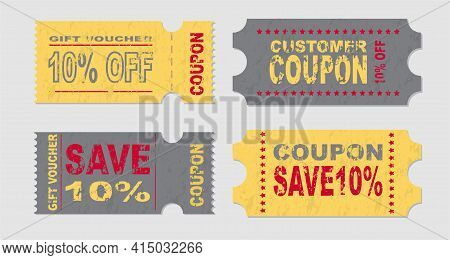 Set Of Coupon Ticket Card Promotion Sale For Website, Internet Ads, Social Media Or Coupon. Retro Co