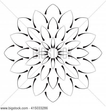Cute Mandala. Ornamental Round Doodle Flower Isolated On White Background. Geometric Decorative Orna