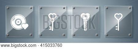 Set Key In Heart Shape, Key In Heart Shape, Key In Heart Shape And Romantic Music. Square Glass Pane