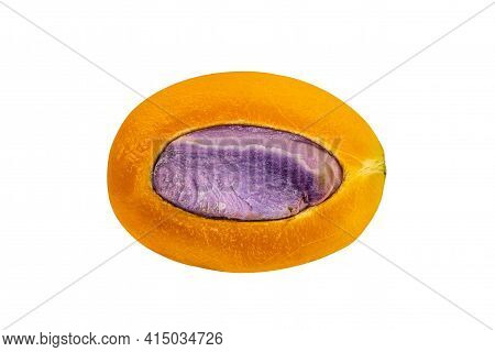 Top View Of Half Marian Plum On White Background With Clipping Path. Half Freshly Harvested Ripe Mar