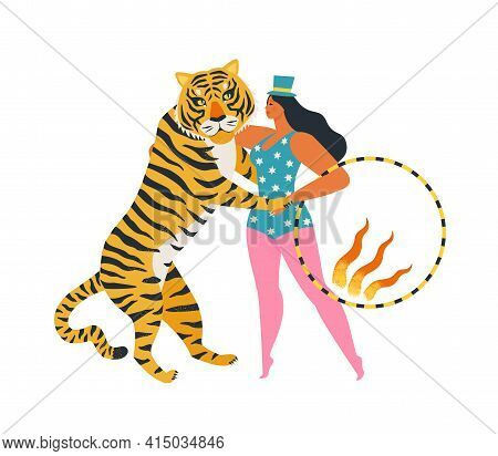 The Circus Tiger Dancing With The Woman Holding A Fiery Ring. Enjoy The Show. Illustration On White
