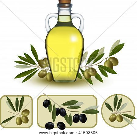 Bottle Of Oil With Green Olives And Olive Oil Labels. Vector Illustration.