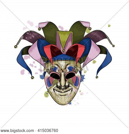 Carnival Venetian Mask From A Splash Of Watercolor, Colored Drawing, Realistic. Vector Illustration