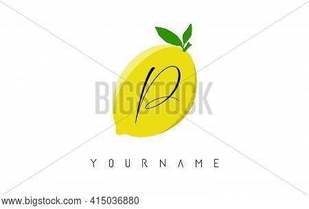 Handwritten P Letter Logo Design With Lemon Background. Creative Vector Illustration With Lemon And
