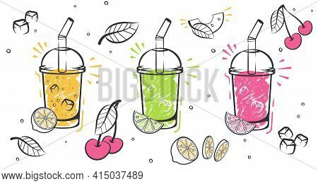 Superfoods And Health Or Detox Diet Food Concept In Sketch Style. Smoothie Recipe With A Bottle And