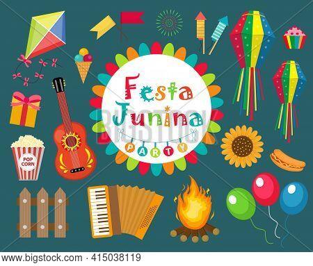 Festa Junina Set Icons, Flat Style. Brazilian Latin American Festival, Celebration Of Traditional Sy